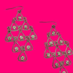 Big Dangly Trifari Statement Earrings Rhinestones